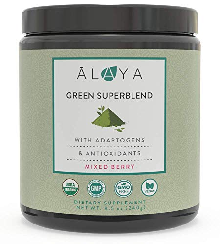 Alaya Naturals Organic Greens Powder - Superfood Powder with Adaptogens, Antioxidants & Probiotic - Organic Non-GMO Super Greens Supplement Powder - 30 Servings - Berry Flavor Green Powder