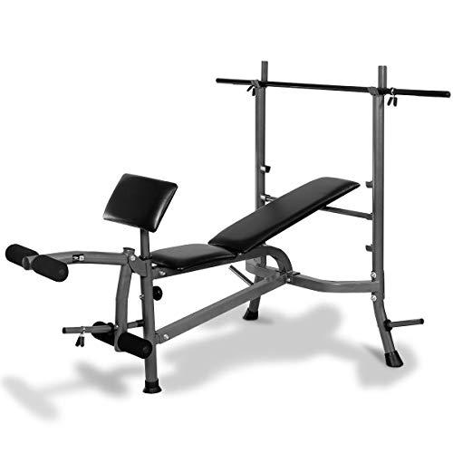 Goplus Standard Weight Lifting Bench Set Incline/Flat Adjustable with 4 Weights/Leg Developer/Dumbbell Bar (Weight Bench+Weight Plate)