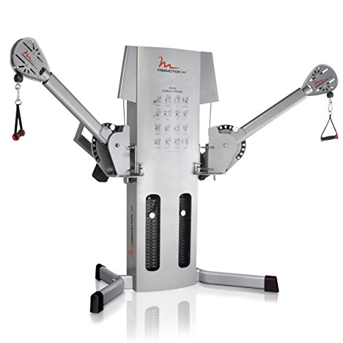 Light Commercial FreeMotion EXT Dual Cable Crossover Silver Machine with Weight Stacks, Rotating Arms and Swivel Pulleys.