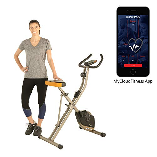 Exerpeutic Folding Magnetic Upright Exercise Bike with Bluetooth App Tracking Option