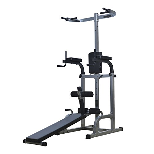 Soozier 80' Full Body Power Tower Home Gym Fitness Station w/ Adjustable Sit Up Bench