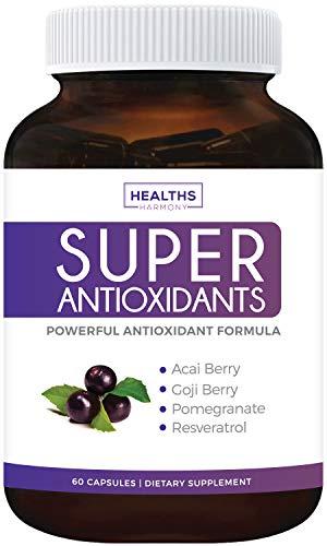 Super Antioxidant Supplement | Powerful Super Food Antioxidants Blend | Acai Berry, Goji Berry, Pomegranate & Trans Resveratrol | Natural Herbal & Fruit Formula | Skin Care | Made in USA | 60 Capsules