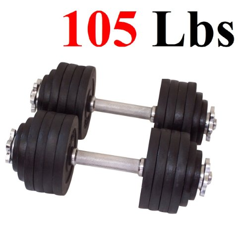Unipack One Set of 2x52.5Lbs Adjustable Weight Dumbbell Cast Iron Total 105Lbs