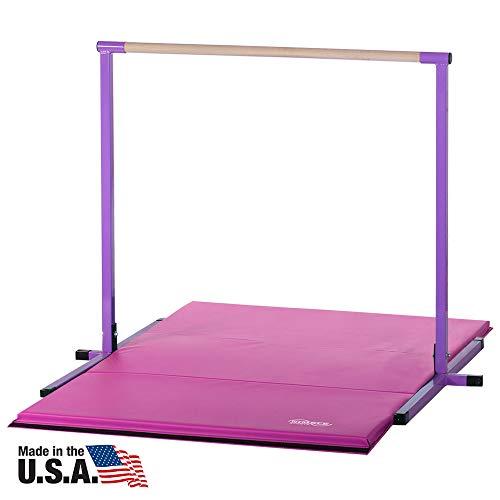 Horizontal Bar and Pink Folding Gym Mat