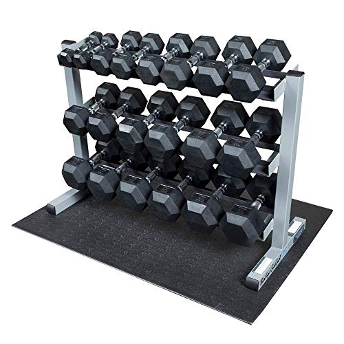 Body-Solid 3-Tier Horizontal Dumbbell Rack with Rubber Hex Dumbbells (GDR363-RFWS)