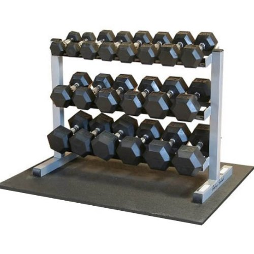 Body-Solid Rubber Hex Dumbbell Set with 3-Tier Horizontal Rack (GDR363-RFWS)