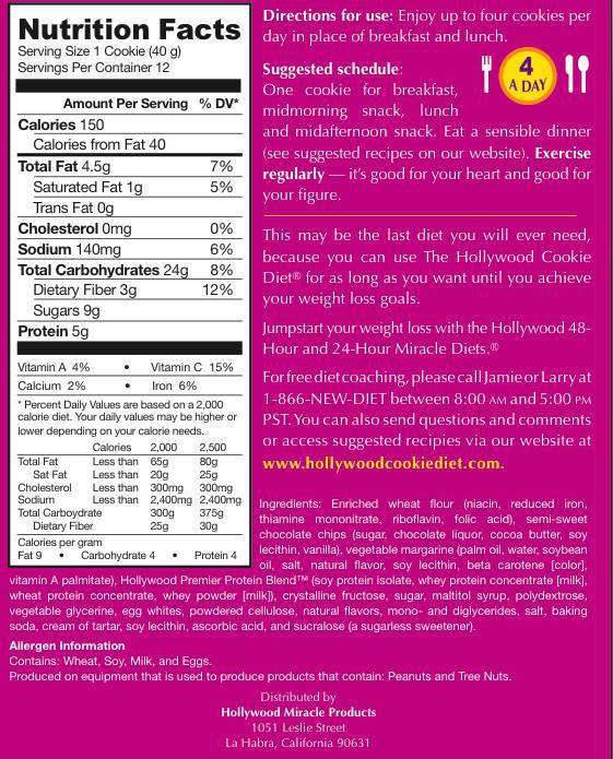 cookie diet nutrition facts