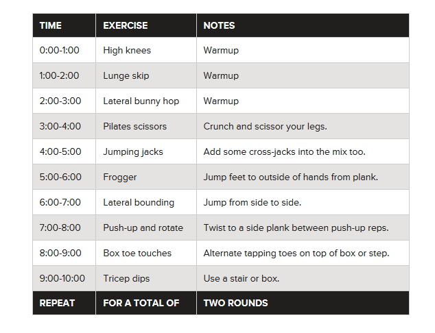 20 Minute Cardio Workout At Home