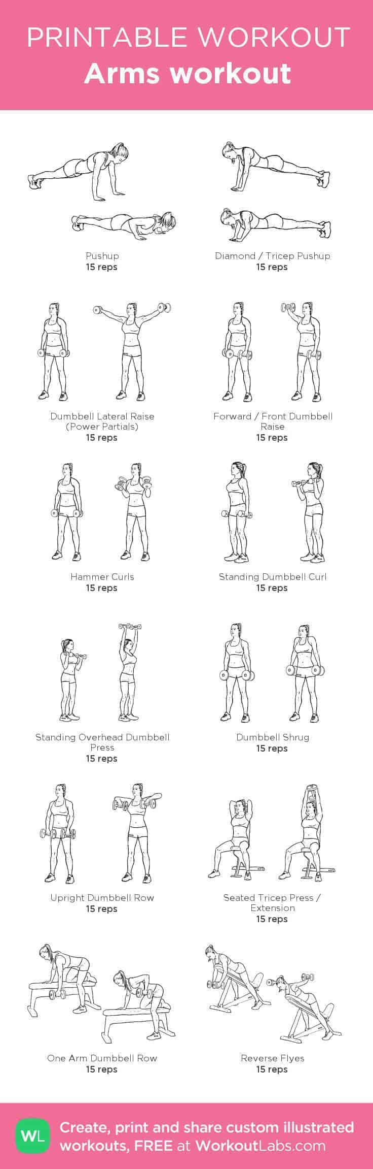women's arm workout printable