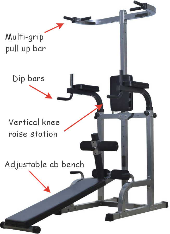Soozier fitness station with ab bench