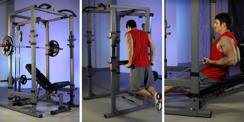 squat rack with lat attachment