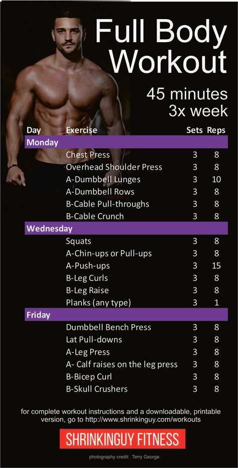 3 day total body workout for beginners