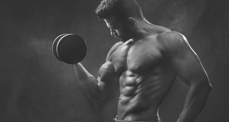 man dumbbell biceps curl
