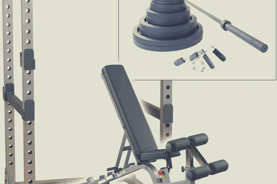 power racks with weights and workout bench